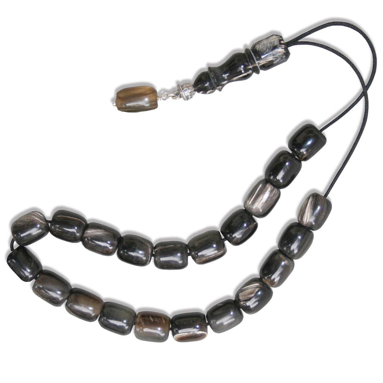 Worry Beads - Komboloi - Natural Bull Horn & Sterling Silver - Barrel Shape