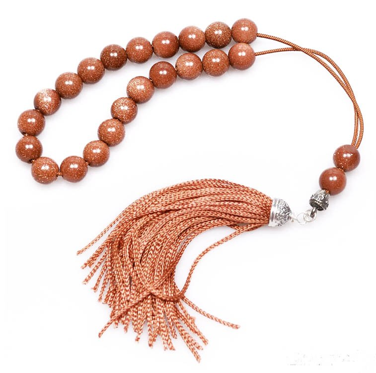 Worry Beads - Greek Komboloi - Brown Goldstone & Sterling Silver - Round Beads