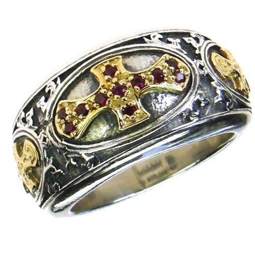 Gerochristo 2661-Solid Gold, Sterling & Rubies Medieval-Byzantine Cross Ring /7