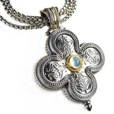 Gerochristo 5140 - Gold, Silver & Aquamarine Medieval-Byzantine Cross Pendant
