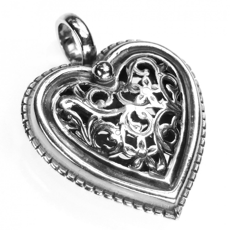 Gerochristo 1411 - Sterling Silver Filigree Heart Pendant