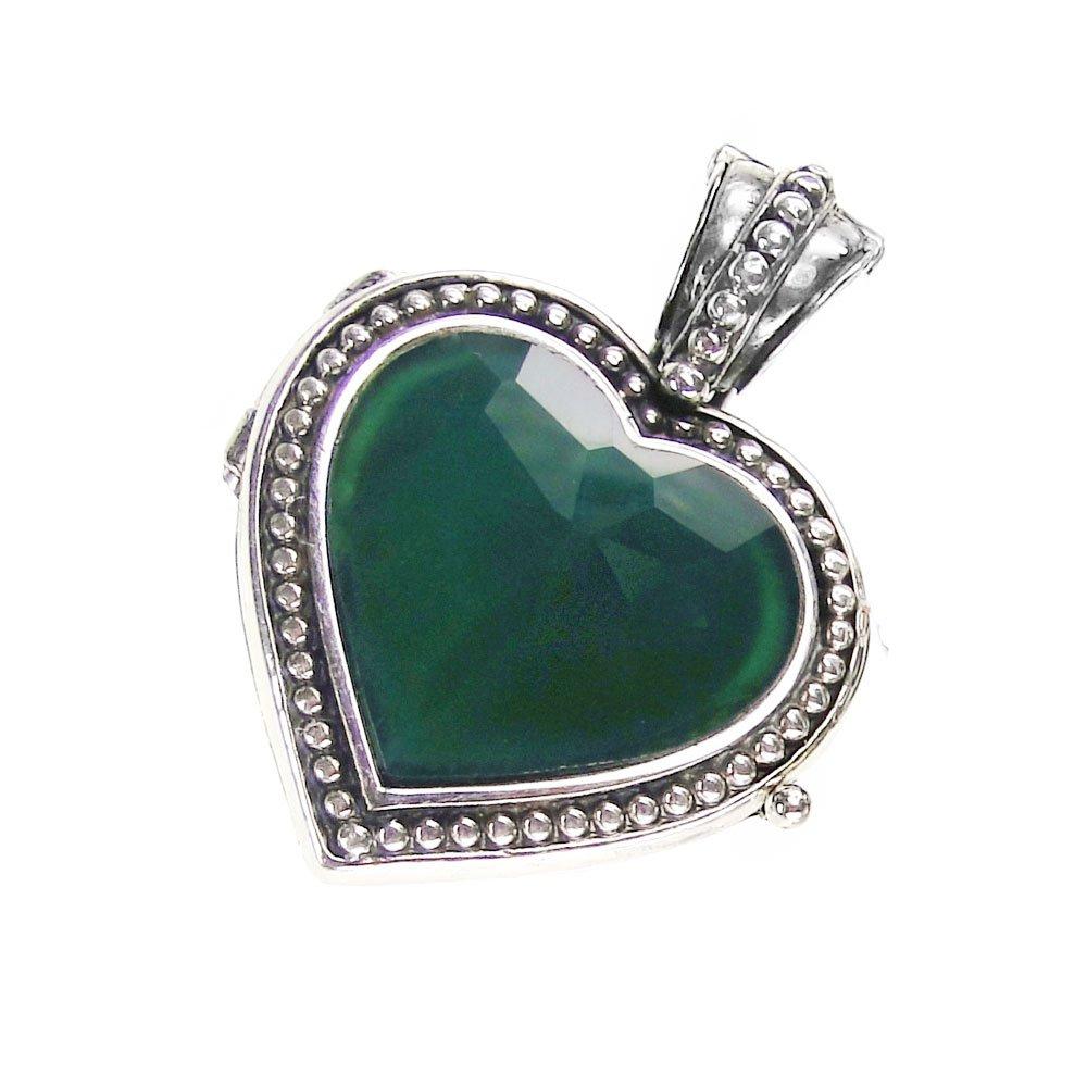 Gerochristo 3442 - Sterling Silver and Jade Heart Locket Pendant