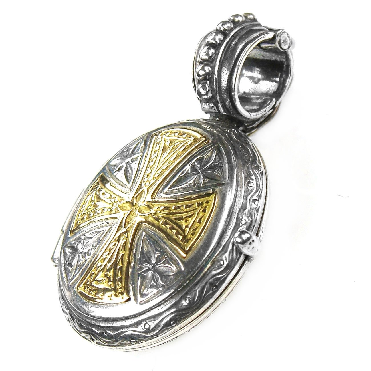 Gerochristo 3367 - Solid 18K Gold & Silver Engraved Locket Pendant with Cross