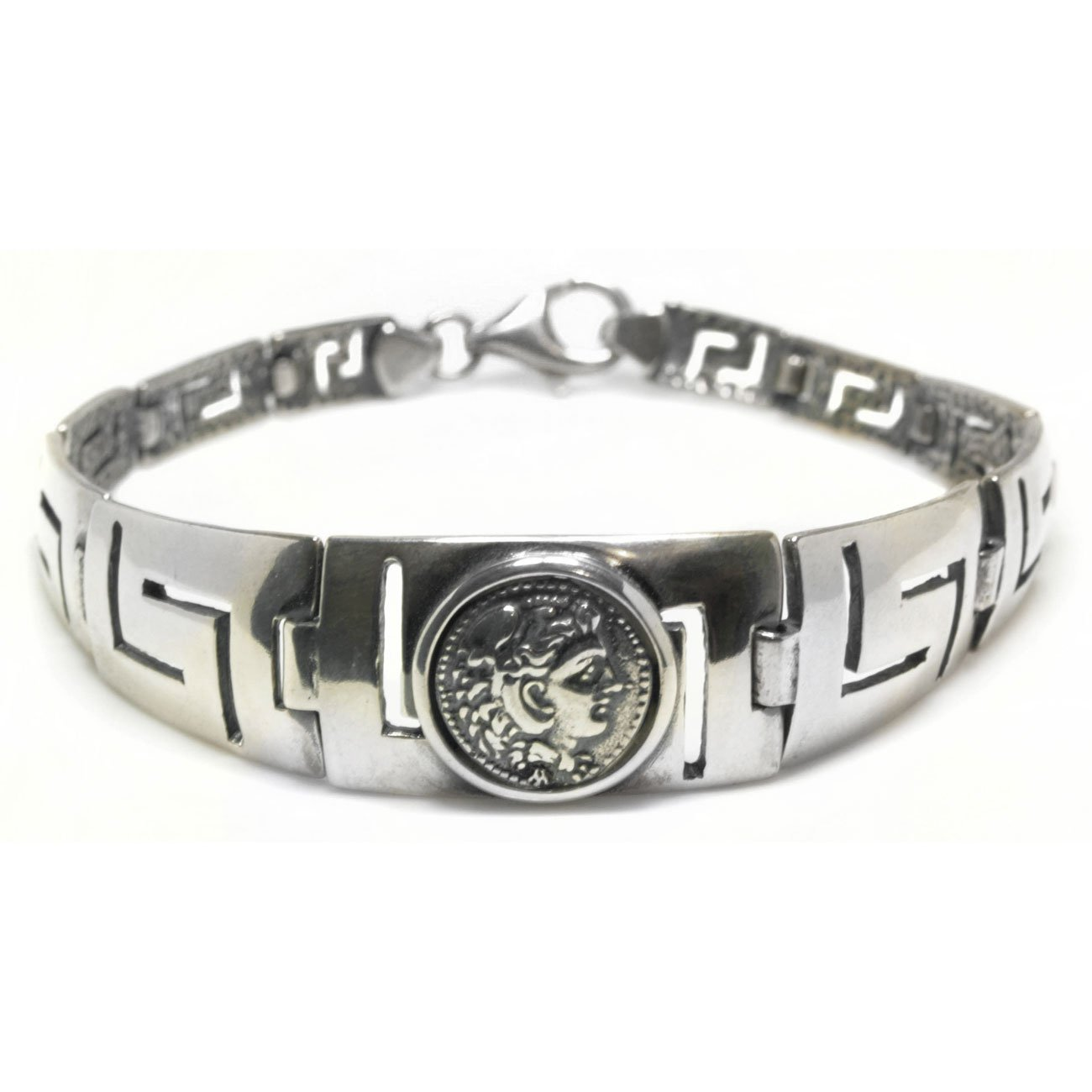 Hercules - Ancient Greek Erythrai Drachma Coin & Meander-Sterling Silver Bracelet