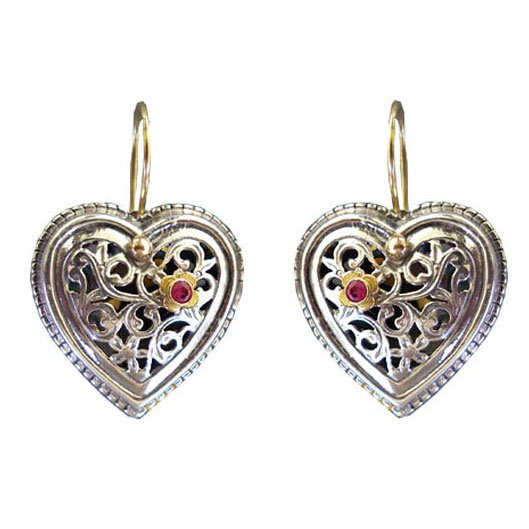 Gerochristo 1275 - Solid 18K Gold, Silver & Ruby Filigree Heart Earrings