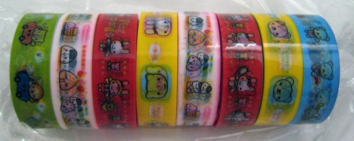 Kids sticky scotch tape, cartoon prints, all sorts of colors