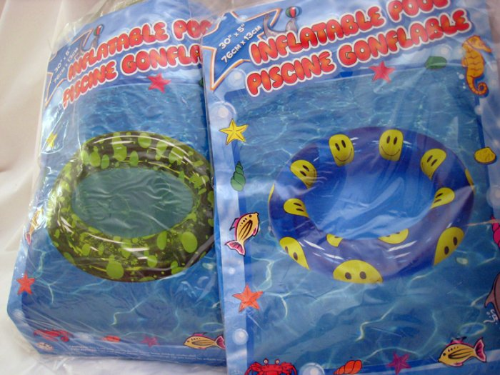 2 Inflatable Pool Swimming Floats circular (smiley face,green spots)