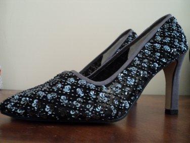 Vintage ANN MARINO Womens Beaded High Heel Dress Shoes Sz.6M