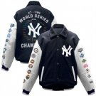New York Yankees Navy Blue 2009 World Series Champions Wool/Leather Jacket