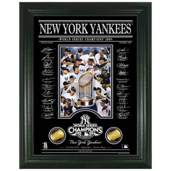New York Yankees 2009 World Series Champions Archival Etched Signature Glass Photomint
