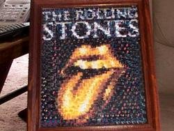 The Rolling Stones golden tounge montage mosaic pop art print signed COA and 1 of only 25 issued