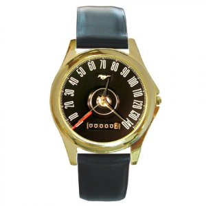 1968 Ford Mustang speedometer watch with real leather band and box