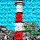 Amazing Beautiful Red Lighthouse Art Print Montage