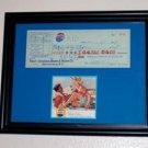 1/1 Framed pre 1955 Pepsi Cola Check with COA
