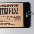 1864 Civil War flyer hand-out Luggage or Book Bag Tag