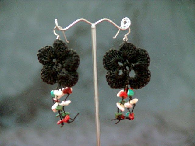 Black Floral Handmade Crochet Beaded Hoop Gypsy Boho Hippie Earrings