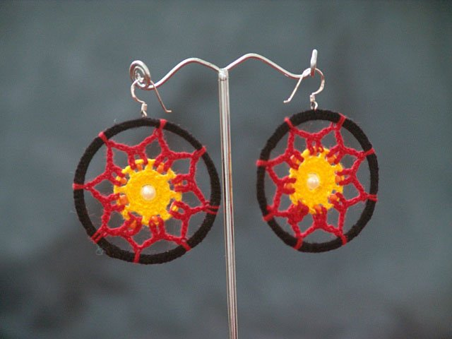 Black/Red Round Handmade Crochet Hoop Gypsy Boho Hippie Earrings