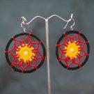 Black/Red Round Handmade Crochet Hoop Gypsy Boho Hippie Earrings