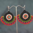 Black/Orange Handmade Crochet Beaded Hoop Gypsy Boho Hippie Earrings
