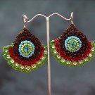 Green/Brown Handmade Crochet Beaded Hoop Gypsy Boho Hippie Earrings