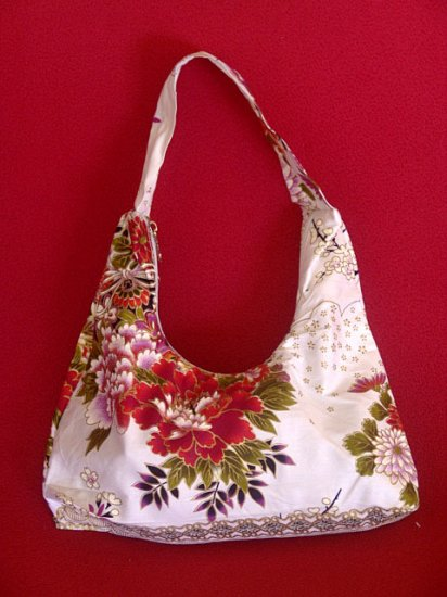 Small White BOHO Japanese Red FLORAL Print SHOULDER HANDBAG PURSE