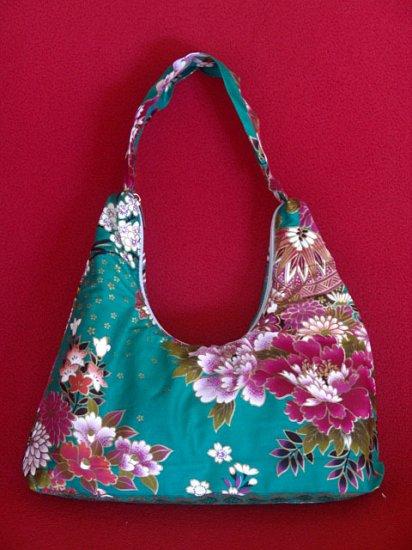 Small Turq Green BOHO Japanese Pink FLORAL Print SHOULDER HANDBAG PURSE