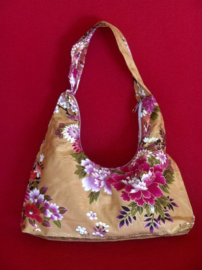 Small Gold BOHO Japanese Pink FLORAL Print SHOULDER HANDBAG PURSE