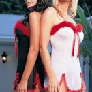2 Piece Mesh Marabou Dress with G-String Babydoll