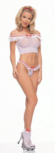 3 Piece Ruffle Crop Top with Thong and Anklets