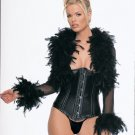 Satin Princess Lined Metal Boned Waist Cinch and Mesh Feather Bolero