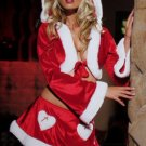 2 Piece 'Cutie Claus' Hooded Crop Top with Garter Skirt