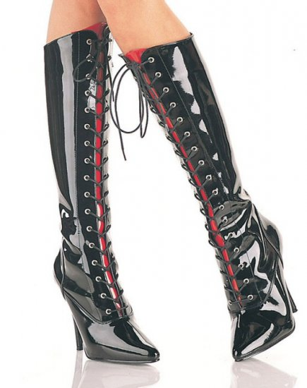 Seduce - Women's Lace Up Knee Boots with Interchangeable Color Tongues