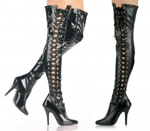 Women's Thigh High Heeled Boots with Ribbon Lace Up Side