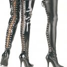 Women's Thigh High Heeled Tight Boots with Lace Up Back