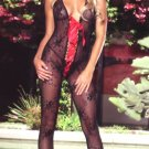 Halter Boudoir Lace Bodystocking with Deep V Ribbon Lace Up