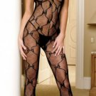Bow Lace Bodystocking with Ruffle Top