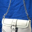 Laced Design Handbags with Chain Strap & Rhinestone Buckle - White