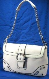 Laced Design Handbags with Chain Strap & Rhinestone Buckle - White