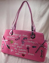 Large Cotton Microfiber Handbags with Metallic Color Trim and Glitter