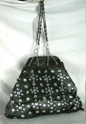 Large Chain Drawsting Bags with Acrylic Front Stone Design