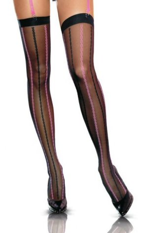 Lycra Sheer Two Tone Woven Rope Design Thigh Highs