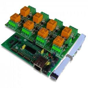 IP Relay Board 8 Channels - Web, TCP/IP, Telnet, HTTP API, E-mails, 12VDC