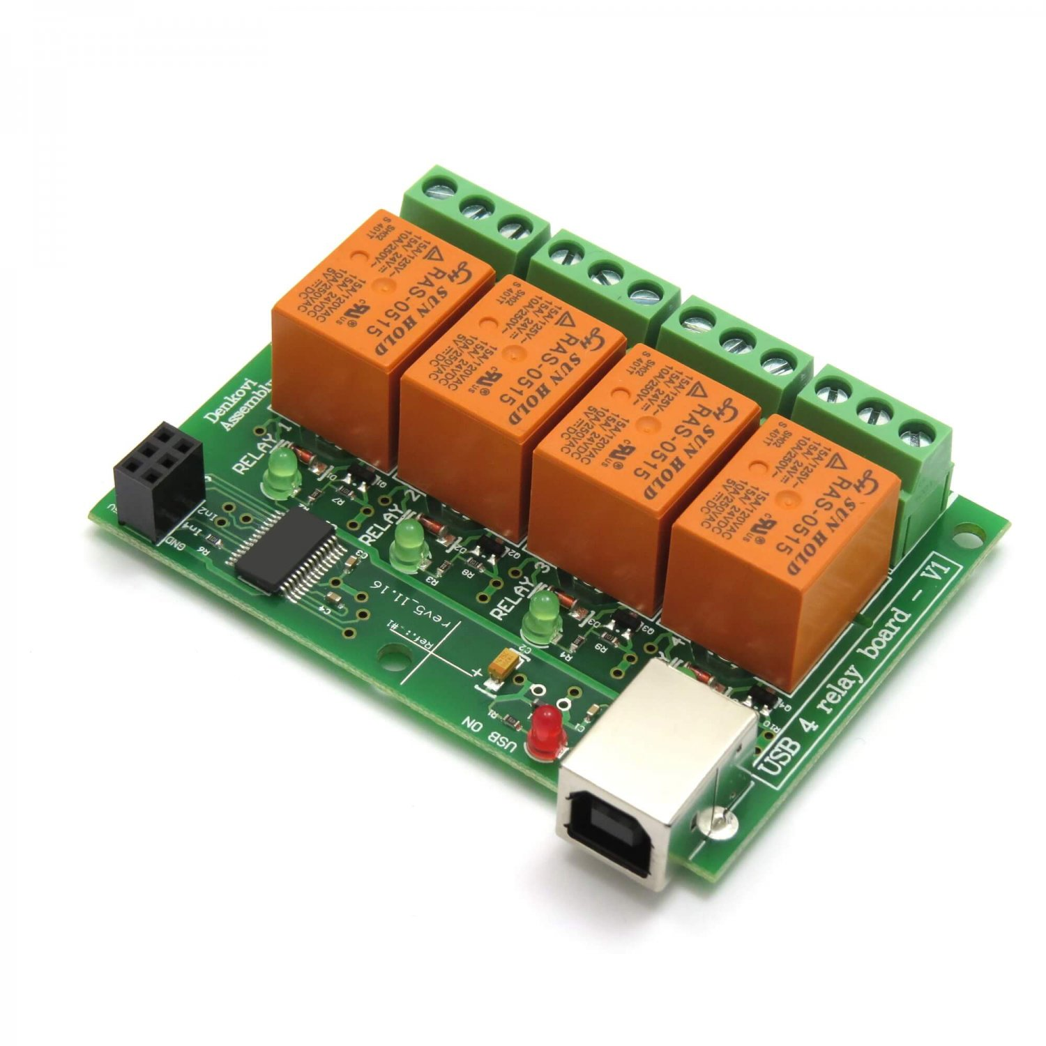 USB Four(4) Relay Module,Board for Home Automation (RAS-05-15)