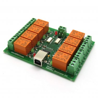 USB Eight Channel Relay Board for Automation, 12V
