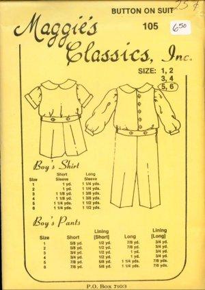 Vintage Maggie's Classics Button on Suit Boy's Pattern Size 5,6