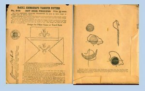 Original 1920's McCall Kaumagraph Transfer Pattern #844 Design for Pillow Cases or Towel ends
