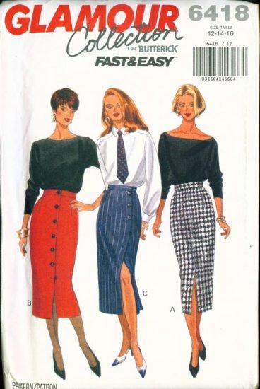 Butterick GLAMOUR Collection Plus Size Pattern #6418 12-16 UNCUT