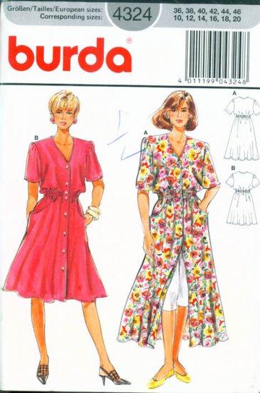 Burda #4324 Easy Carefree Dress Size 10,12,14,16,18,20