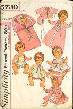 """Vintage Simplicity #5730 Doll Wardrobe 16"""" for Betsy Wetsy"""