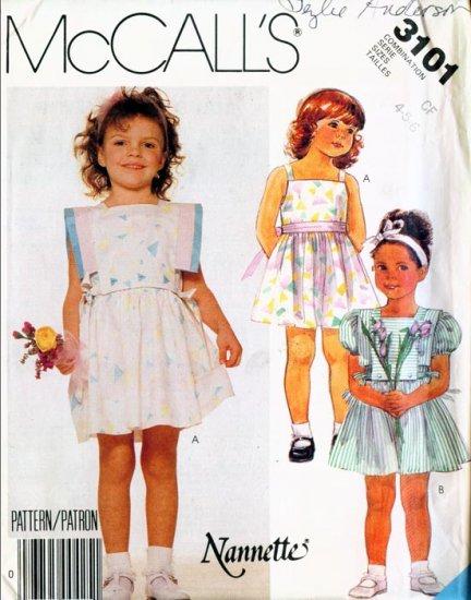 McCall's 1987 Pattern #3101 NANNETTE Children's Dress & Bib 4-5-6 UNCUT